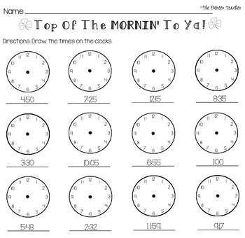 St. Patrick's Day Telling Time Worksheet by Kids and