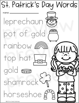 St. Patrick's Day Writing for Kindergarten by First Grade