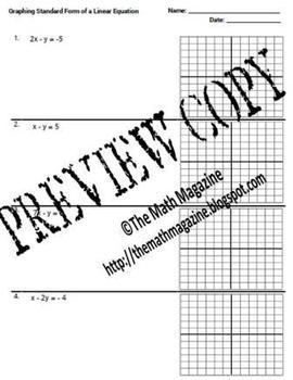 Standard Form Equations Graph Intercepts Worksheet 8.F.4 F