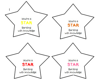 Test Day Treat / Gift Tag / Starburst / Motivation / Test