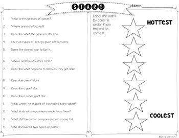 Stars {Differentiated Close Reading Passages & Questions