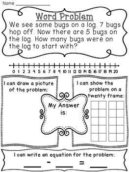 Start Unknown Subtraction Word Problems Pack by Miss