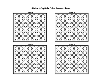 States + Capitals Connect Color Four Printable Geography