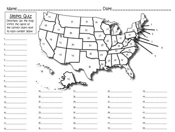States Quiz/Test & Study Sheet, States and Capitals: I