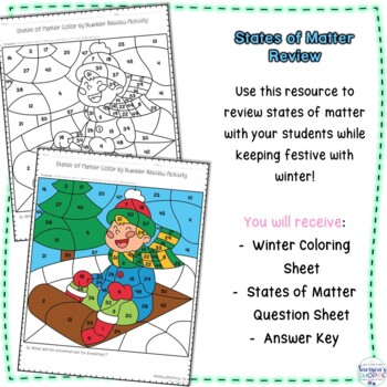 States of Matter Winter Color by Number Review Solid