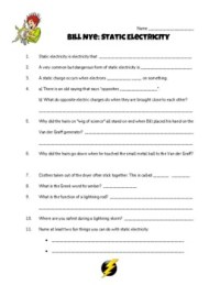 Static Electricity Bill Nye Video Worksheet by Creative ...