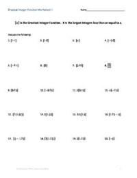 Step Function: Greatest Integer Function Worksheet ...