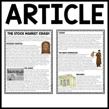 Stock Market Crash Reading Comprehension Worksheet, DBQ