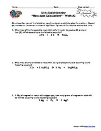 Stoichiometry Homework Worksheets - Set of 7 - With answer ...