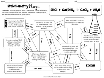 Stoichiometry Maze Worksheet for Review or Assessment by