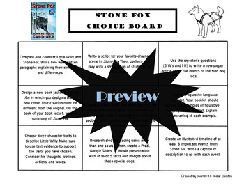 Stone Fox Choice Board Novel Study Activities Menu Book