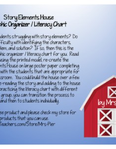 Story elements house graphic organizer literacy chart in english and spanish also rh teacherspayteachers