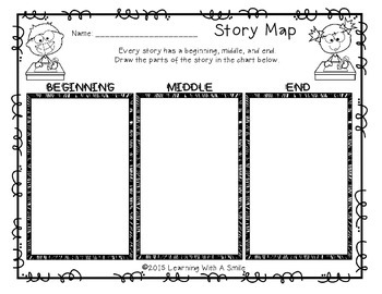 Story Map FREEBIE: Beginning, Middle, and End Graphic