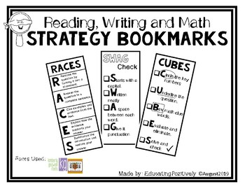 Strategy Bookmarks (RACES, SWAG, & CUBES) by Jessica