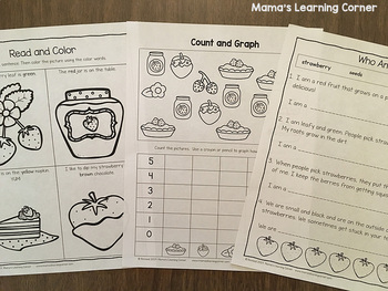 Strawberry-Themed Worksheet Packet for Kindergarten-First