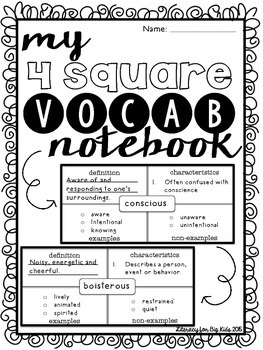 Student 4-Square Vocabulary Notebook by Literacy for Big