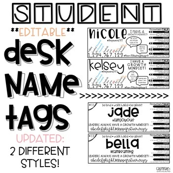 Student Desk Name Tags **Editable** by Caffeinate and