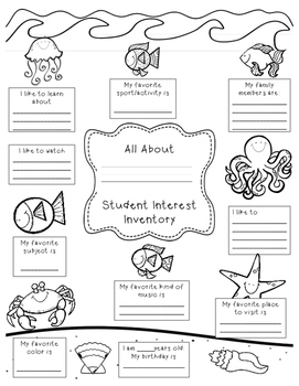 Student Interest Inventory by Creatively Crazy With