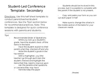 Student Led Conferences Templates Teaching Resources | Teachers Pay ...