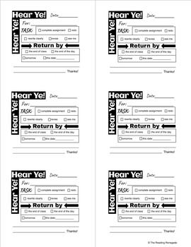 Student Memos Sticky Note Templates by The Reading
