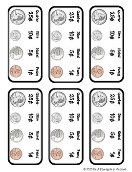 Student Money (Coin) Bank Labels by Be a Pineapple in