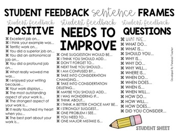 Student to Student Feedback Wheels! by Susie Rios-Panicked