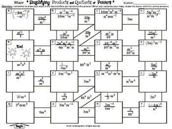 Product of Powers, Quotient of Powers Math Puzzle / Maze