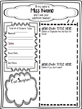 Substitute Teacher Note 2.0 (Outlined Note) by Becoming