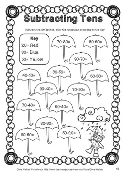 Subtracting Tens Worksheets (Subtract 10 from a two digit