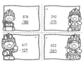 Winter Subtraction with Regrouping Task Cards by Teaching