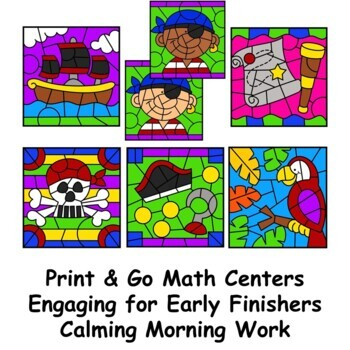 Subtraction Color by Number Pirates Theme by Primary