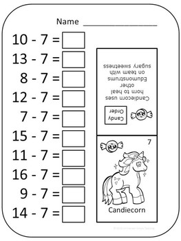 Subtraction Facts Practice Sheets and Monster Reward Cards