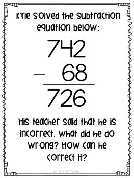 Subtraction Math Menu Choice Board by Not So Wimpy Teacher