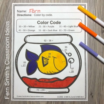 3rd Grade Go Math 1.10 Color By Numbers Subtraction Multi
