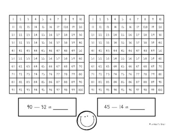 2-Digit Subtraction Using a Hundreds Chart by 4 Little
