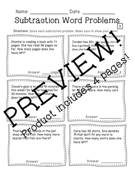 Subtraction Word Problems (Regrouping) by Alexandra Matile