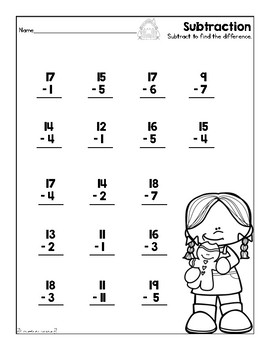 Subtraction Worksheet (December/Gingerbread) by First