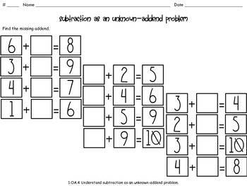 Subtraction as an Unknown-Addend Problem Math Centers