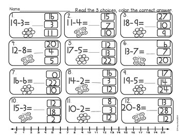 Subtraction from 20 Common Core Activities Spring Theme by