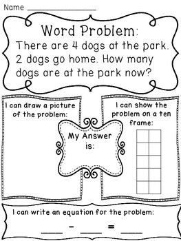 Subtraction within 10 Word Problems Worksheets by Miss