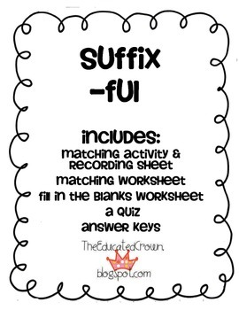 Suffix FUL activity, matching, sentences, and quiz! by