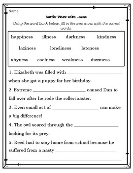 Suffix Worksheets To Practice Ness Able Ful Less
