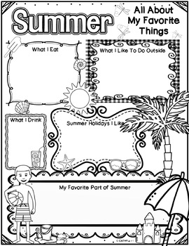Summer Activities Freebie, End of Year, Writing Activity