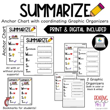 Summarize Anchor Chart with coordinating Graphic Organizer