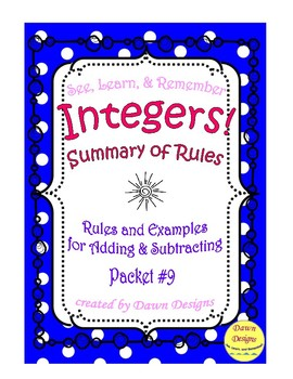 Summary Of Rules For Adding And Subtracting Integers By