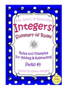 Summary of rules for adding and subtracting integers also by dawn designs rh teacherspayteachers