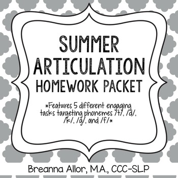 No Prep Summer Articulation Homework Packet by Breanna
