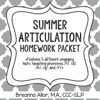 No Prep Summer Articulation Homework Packet by Breanna's