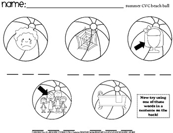 Summer CVC Worksheets ~15 Sheets For Summer Packets