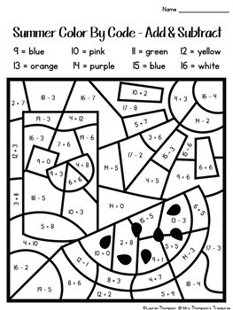 Summer Coloring Pages Color By Code First Grade by Mrs